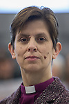 © Joel Goodman - 07973 332324 . 09/02/2015 . Manchester , UK . LIBBY LANE , the Bishop of Stockport , carries out her first public engagement since being ordained as the first woman Bishop in the Church of England . Bishop Libby Lane meets victims of human trafficking at Manchester Airport's Terminal 2 Arrival Lounge and speaks in support of efforts to clamp down on human trafficking . Photo credit : Joel Goodman