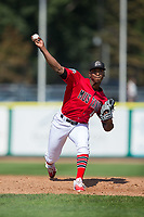 Billings Mustangs relief pitcher Cory Thompson (41) warms-up between innings of the game against the Missoula Osprey at Dehler Park on August 20, 2017 in Billings, Montana.  The Osprey defeated the Mustangs 6-4.  (Brian Westerholt/Four Seam Images)