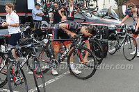 Dale Appleby of the NFTO racing team prepares his bicycle for the race during the Abergavenny Festival of Cycling &quot;Grand Prix of Wales&quot; race on Sunday 17th 2016<br /> <br /> <br /> Jeff Thomas Photography -  www.jaypics.photoshelter.com - <br /> e-mail swansea1001@hotmail.co.uk -<br /> Mob: 07837 386244 -