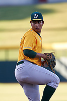 AZL Athletics Gold starting pitcher Gerald Garcia (32) during an Arizona League game against the AZL Cubs 1 at Sloan Park on June 20, 2019 in Mesa, Arizona. AZL Athletics Gold defeated AZL Cubs 1 21-3. (Zachary Lucy/Four Seam Images)