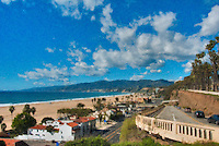 California Incline, Santa Monica CA, Palisades Park, view of Malibu, Point Dume, mountains