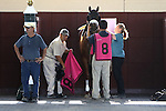 September 07, 2015. Greenwood Cup contender Desvelo (ARG) is readied in the paddock for the Grade III, one and 1/2 mile, stakes race for three years olds and upward, at  Parx Racing in Bensalem, PA.  (Joan Fairman Kanes/ESW/CSM)