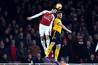Matt Doherty of Wolves and Henrikh Mkhitaryan of Arsenal during Arsenal vs Wolverhampton Wanderers, Premier League Football at the Emirates Stadium on 11th November 2018