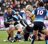 Bedford, England. Paul Tupai of Bedford Blues in action during The Championship Bedford Blues vs Newcastle Falcons at Goldington Road  Bedford, England on November 3, 2012