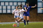 16 October 2015: North Carolina's Joanna Boyles (10) and Duke's Ashton Miller (4). The University of North Carolina Tar Heels hosted the Duke University Blue Devils at Fetzer Field in Chapel Hill, NC in a 2015 NCAA Division I Women's Soccer game. Duke won the game 1-0.