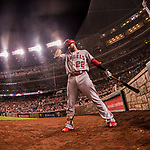 15 August 2017: Los Angeles Angels infielder Kaleb Cowart stands on deck during a game against the Washington Nationals at Nationals Park in Washington, DC. The Nationals defeated the Angels 3-1 in the first game of their 2-game series. Mandatory Credit: Ed Wolfstein Photo *** RAW (NEF) Image File Available ***