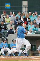 Myrtle Beach Pelicans outfielder Mark Zagunis (6) at bat during a game against the Wilmington Blue Rocks at Ticketreturn.com Field at Pelicans Ballpark on April 10, 2015 in Myrtle Beach, South Carolina.  Wilmington defeated Myrtle Beach 8-3. (Robert Gurganus/Four Seam Images)