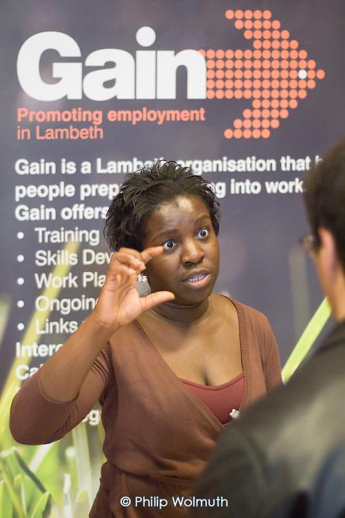 Gain information stall at Jobs Fair, Brixton Town Hall