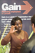 Gain information stall at Jobs Fair, Brixton Town Hall