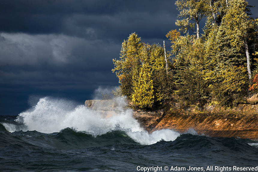 Waves crashing in Lake Superior, Pictured Rocks National Lakeshore, Michigan, Upper Peninsula