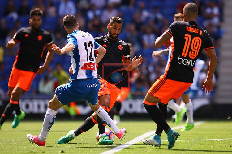 League Santander 2016/2017. Game: 37.<br /> RCD Espanyol vs Valencia CF: 0-1.<br /> Aaron Martin vs Martin Montoya.