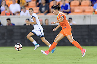 Houston, TX - Saturday July 08, 2017: Carli Lloyd passes the ball  during a regular season National Women's Soccer League (NWSL) match between the Houston Dash and the Portland Thorns FC at BBVA Compass Stadium.