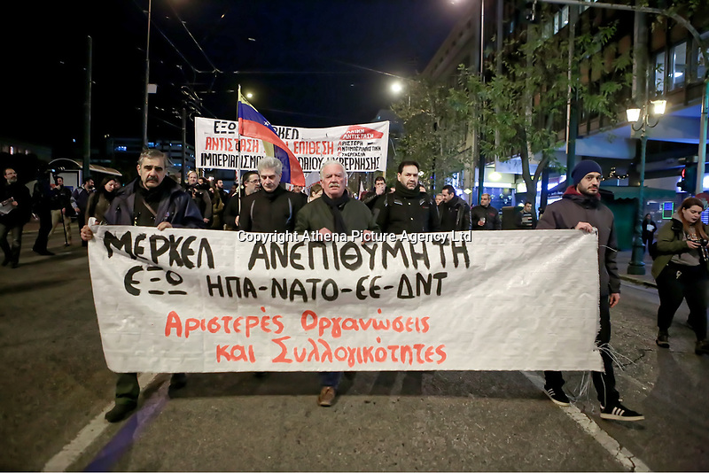 Pictured: Hundreds of people protest against the visit of German Chancellor Angela Merkel in central Athens, Greece.<br /> Re: Official visit of German Chancellor Angela Merkel  to Athens, Greece.