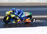 Jun. 1, 2014; Englishtown, NJ, USA; NHRA pro stock motorcycle rider Matt Smith during the Summernationals at Raceway Park. Mandatory Credit: Mark J. Rebilas-