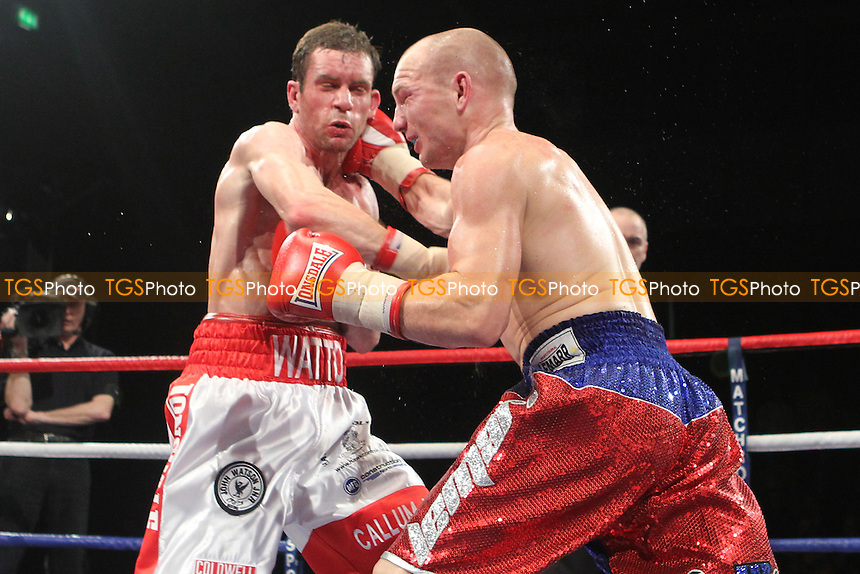 Gavin Rees (Red shorts) defeats John Watson (White shorts) in a lightweight boxing contest at the Newport Leisure Centre, Wales, promoted by Matchroom Sports - 06/11/10 - MANDATORY CREDIT: Chris Royle/TGSPHOTO - Self billing applies where appropriate - 0845 094 6026 - contact@tgsphoto.co.uk - NO UNPAID USE..