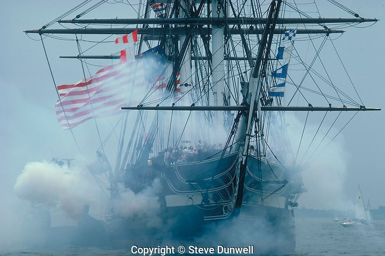 USS Constitution with guns & smoke, Boston, MA turnaround Freedom Trail