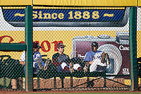 Members of the Missouri State Bears sit in the left field bullpen during a game against the Southern Illinois University- Edwardsville Cougars at Hammons Field on March 9, 2012 in Springfield, Missouri. (David Welker / Four Seam Images)