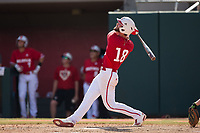 Evan Edwards (18) of the North Carolina State Wolfpack follows through on his second home run of the game against the Army Black Knights at Doak Field at Dail Park on June 3, 2018 in Raleigh, North Carolina. The Wolfpack defeated the Black Knights 11-1. (Brian Westerholt/Four Seam Images)