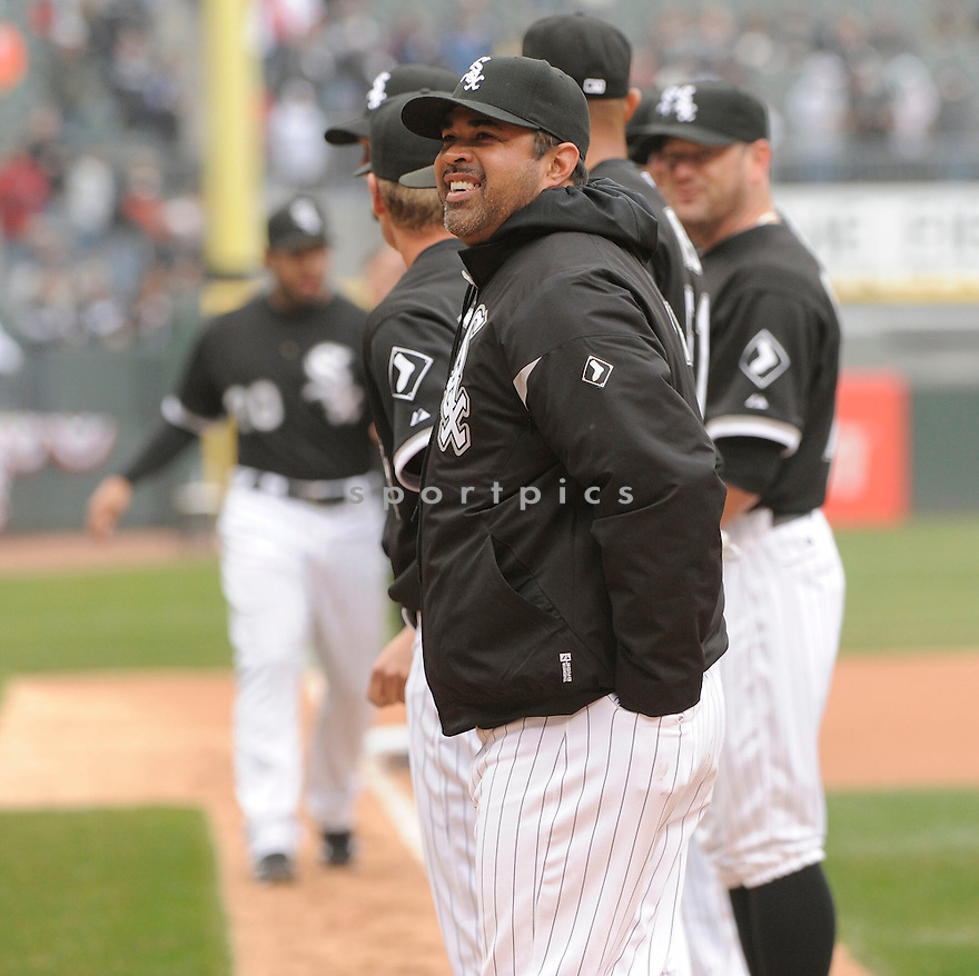 OZZIE GUILLEN, of the Chicago White Sox , in actions during the White Sox game against the Tampa Bay Rays at US Cellular Field on April 7, 2011.  The Chicago White Sox won the game beating the Tampa Bay Rays 5-1.