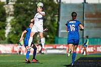 Seattle, WA - Sunday, May 1, 2016: FC Kansas City midfielder Heather O'Reilly (9) goes up for a header during the second half of a National Women's Soccer League (NWSL) match at Memorial Stadium. Seattle won 1-0.