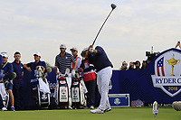 Rickie Fowler Team USA tees off the 9th tee during Friday's Fourball Matches at the 2018 Ryder Cup, Le Golf National, Iles-de-France, France. 28/09/2018.<br /> Picture Eoin Clarke / Golffile.ie<br /> <br /> All photo usage must carry mandatory copyright credit (© Golffile | Eoin Clarke)