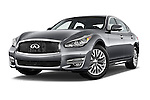 Stock pictures of low aggressive front three quarter view of a 2015 Infiniti Q70 3.7 L 4 Door Sedan Low Aggressive