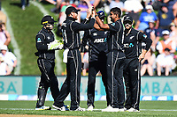 Blackcaps celebrate with Ish Sodhi after taking the wicket of Jason Roy during the 4th ODI Blackcaps v England. University Oval, Dunedin, New Zealand. Wednesday 7 March 2018. ©Copyright Photo: Chris Symes / www.photosport.nz