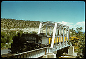 D&amp;RGW #493 K-37 with excursion train crossing steel truss &amp; girder bridge.<br /> D&amp;RGW