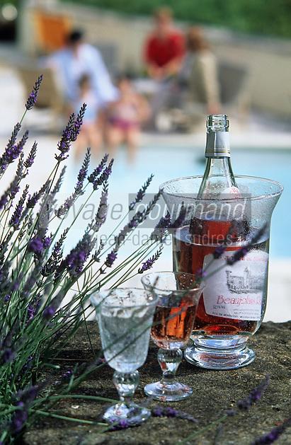 Europe/France/Rhône-Alpes/69/Rhône/Morance: Beaujolais rose à la piscine du château du Pin
