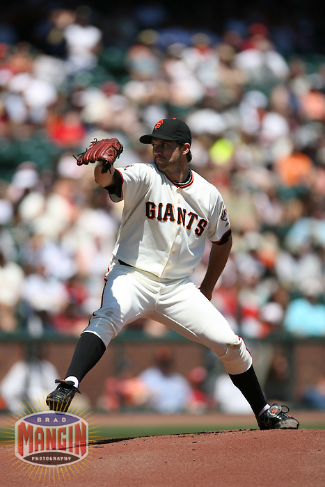 SAN FRANCISCO - APRIL 27:  Barry Zito of the San Francisco Giants pitches during the game against the Cincinnati Reds at AT&T Park in San Francisco, California on April 27, 2008.  The Reds defeated the Giants 10-1.  Photo by Brad Mangin
