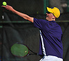 Patrick Maloney of Oyster Bay serves to Matthew Cashin of Cold Spring Harbor (not in picture) during the Nassau County varsity boys tennis individual final at Eisenhower Park in East Meadow on Monday, May 21, 2018. The University of Michigan-bound Maloney won the match 6-2, 6-1 to claim the county crown.