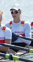Brandenburg. GERMANY.<br /> GER W4X.Carina BAER,  at the start of their heat. 2016 European Rowing Championships at the Regattastrecke Beetzsee<br /> <br /> Friday  06/05/2016<br /> <br /> [Mandatory Credit; Peter SPURRIER/Intersport-images]