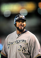 May 8, 2010; Phoenix, AZ, USA; Milwaukee Brewers first baseman Prince Fielder against the Arizona Diamondbacks at Chase Field. Mandatory Credit: Mark J. Rebilas-