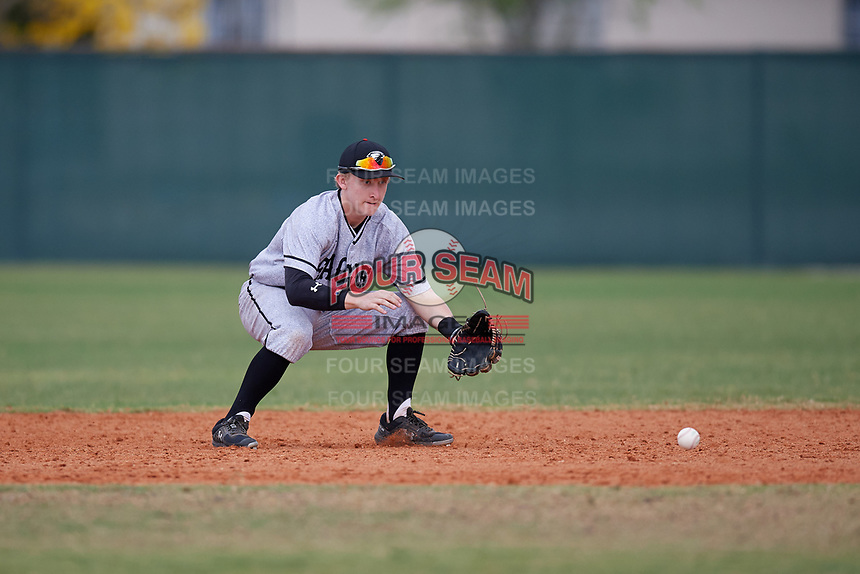 Edgewood Eagles second baseman Bryan Niznik (2) during the second game of a double header against the Bethel Wildcats on March 15, 2019 at Terry Park in Fort Myers, Florida.  Bethel defeated Edgewood 3-2.  (Mike Janes/Four Seam Images)