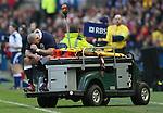Gordon Reid of Scotland  is taken off injured - RBS 6Nations 2015 - Scotland  vs Wales - BT Murrayfield Stadium - Edinburgh - Scotland - 15th February 2015 - Picture Simon Bellis/Sportimage