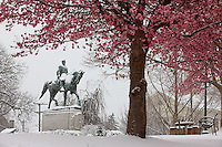 Robert E. Lee park with statue covered with snow during an early spring in Charlottesville, VA.