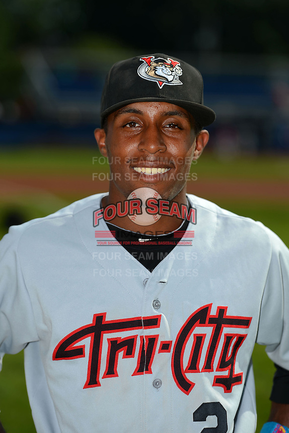 Tri-City ValleyCats second baseman Tony Kemp (2) poses for a photo before a game against the Batavia Muckdogs on July 14, 2013 at Dwyer Stadium in Batavia, New York.  Tri-City defeated Batavia 7-0.  (Mike Janes/Four Seam Images)