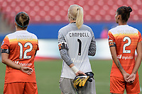 Frisco, TX - Sunday September 03, 2017: Amber Brooks, Jane Campbell, and Poliana Barbosa Medeiros during a regular season National Women's Soccer League (NWSL) match between the Houston Dash and the Seattle Reign FC at Toyota Stadium in Frisco Texas. The match was moved to Toyota Stadium in Frisco Texas due to Hurricane Harvey hitting Houston Texas.