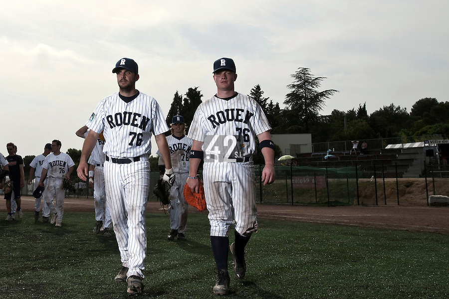 23 May 2009: David Gauthier of Rouen is seen next to Flavien Peron during the 2009 challenge de France, a tournament with the best French baseball teams - all eight elite league clubs - to determine a spot in the European Cup next year, at Montpellier, France. Rouen wins 6-2 over La Guerche.