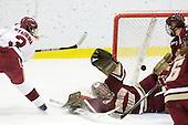 Liza Ryabkina (Harvard - 3), Corinne Boyles (BC - 29), Katelyn Kurth (BC - 14) - The Harvard University Crimson defeated the Boston College Eagles 5-0 in their Beanpot semi-final game on Tuesday, February 2, 2010 at the Bright Hockey Center in Cambridge, Massachusetts.