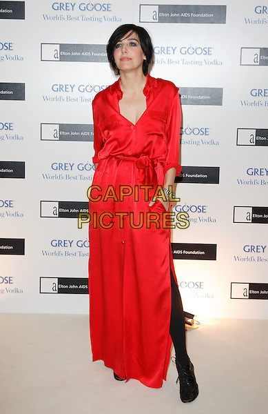 SHARLEEN SPITERI.The Grey Goose Character & Cocktails Ball, Gorsvenor House Hotel, London, England..December 13th, 2009.full length red silk satin maxi dress slit split tights black .CAP/ROS.©Steve Ross/Capital Pictures.