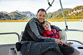 USA, Alaska, Redoubt Bay, Big River Lake, on the boat heading to Wolverine Cove