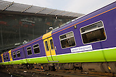 London Overground train at Stratford station, London.