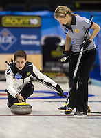 Glasgow. SCOTLAND.  Russia's &quot;Vice Skip&quot;, Uliana VISILEVA, during the Round Robin&quot; Games. Le Gruy&egrave;re European Curling Championships. 2016 Venue, Braehead  Scotland<br /> Monday  21/11/2016<br /> <br /> [Mandatory Credit; Peter Spurrier/Intersport-images]