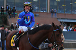 January 18, 2016: Jockey Jon Court aboard #6 Discreetness gives the thumbs up after winning the Smarty Jones Stakes at Oaklawn Park in Hot Springs, AR. Justin Manning/ESW/CSM