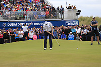 Russell Knox (SCO) monster putt to win the tournament on the playoff 18th green during Sunday's Final Round of the 2018 Dubai Duty Free Irish Open, held at Ballyliffin Golf Club, Ireland. 8th July 2018.<br /> Picture: Eoin Clarke | Golffile<br /> <br /> <br /> All photos usage must carry mandatory copyright credit (&copy; Golffile | Eoin Clarke)
