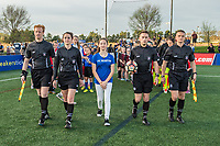 Boston, MA - Saturday April 29, 2017: Game officials walk onto field during opening ceremonies at a regular season National Women's Soccer League (NWSL) match between the Boston Breakers and Seattle Reign FC at Jordan Field.