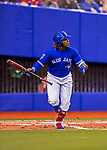 26 March 2018: Toronto Blue Jays third baseman Vladimir Guerrero Jr. at bat in the 7th inning of a pre-season exhibition game against the St. Louis Cardinals at Olympic Stadium in Montreal, Quebec, Canada. The Cardinals defeated the Blue Jays 5-3 in the first of two MLB Grapefruit League games, in which Guerrero Jr. made his first appearance since childhood at the former home on the Montreal Expos. Mandatory Credit: Ed Wolfstein Photo *** RAW (NEF) Image File Available ***