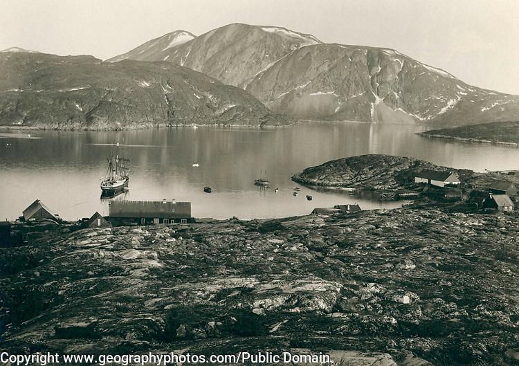 Qeqertarsuaq Godhavn, Greenland in the late 19th century, circa 1889,