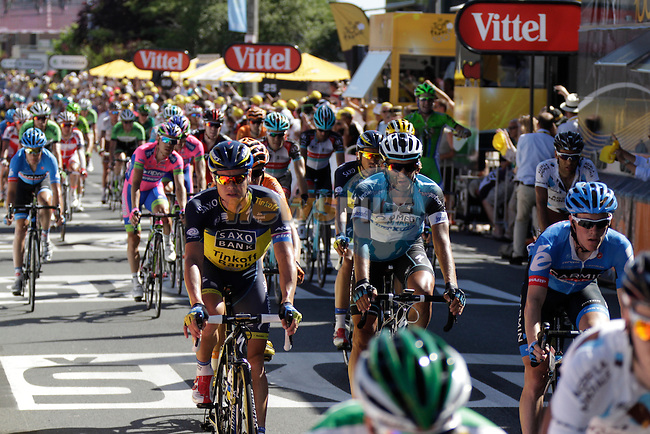 The main bunch including Nicolas Roche (IRL) Team Saxo-Tinkoff crosses the finish line of Stage 7 of the 100th Edition of the Tour de France 2013 from Montpellier to Albi. 5th July 2013.<br /> (Photo: Eoin Clarke/ www.newsfile.ie)